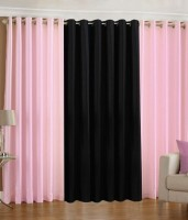 The Decor Hub Polyester Baby Pink, Black Plain Eyelet Long Door Curtain 274.3 Cm In Height, Pack Of 3