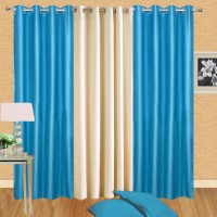 Handloomdaddy Polyester Blue, Beige Self Design Eyelet Door Curtain 208 Cm In Height, Pack Of 3