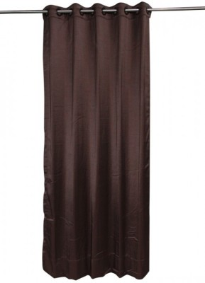 ANIQ Polycotton Brown Plain Curtain Door Curtain 210 Cm In Height, Single Curtain