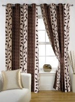 Story @ Home Polyester Brown Window Curtain 152 Cm In Height, Single Curtain