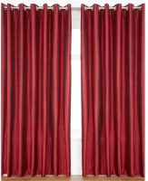 Decor Vatika Polyester Door Curtain (Single Curtain, 84 Inch/214 Cm In Height, Red)