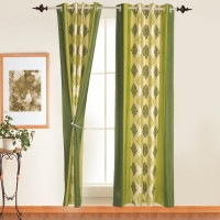 Ahmedabad Cotton Polyester Door Curtain (Single Curtain, 82 Inch/210 Cm In Height, Green)