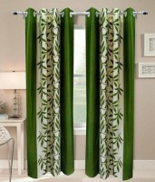 Jars Collections Polyester Green Floral Eyelet Door Curtain 210 Cm In Height, Pack Of 2