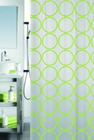 Spread PVC Light Green Printed Eyelet Shower Curtain 200 Cm In Height, Single Curtain