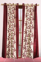 Metro Living Polyester Red Printed Eyelet Window & Door Curtain 213 Cm In Height, Pack Of 2