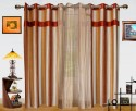 Dekor World Ultimate Stripes With Sheer Door Curtain - Pack Of 3