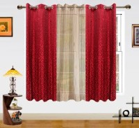 Dekor World Polyester Maroon, Beige Abstract Eyelet Window Curtain 150 Cm In Height, Pack Of 3