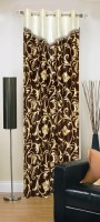 Ville Style Polyester Brown Floral Eyelet Door Curtain 212 Cm In Height, Single Curtain