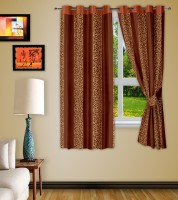 Story @ Home Polyester Brown Abstract Eyelet Window Curtain 152 Cm In Height, Pack Of 2