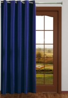 Sjk Polyester Blue Plain Eyelet Window & Door Curtain 150 Cm In Height, Single Curtain