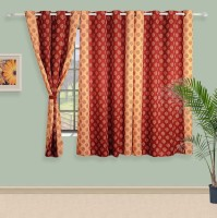 Swayam Satin, Silk Brown, Beige Printed Ring Rod Window Curtain 60 Inch In Height, Single Curtain