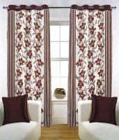 Fabutex Blends Brown Floral Eyelet Door Curtain 210 Cm In Height, Pack Of 2