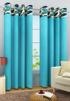 Homefab India Polyester Blue Door Curtain 272 Cm In Height, Single Curtain