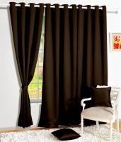 Story @ Home Silk Dark Brown Solid Tab Top Door Curtain 215 Cm In Height, Single Curtain