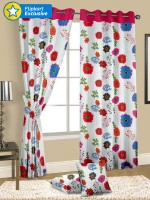 Cortina Cotton Multicolour Floral Eyelet Long Door Curtain 270 Cm In Height, Single Curtain