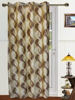 Dekor World Polyester Brown, Beige Abstract Tab Top Door Curtain 215 Cm In Height, Single Curtain