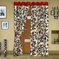 Story @ Home Polyester Red Printed Eyelet Door Curtain 215 Cm In Height, Pack Of 2
