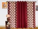 Dekor World Double Damask Long Door Curtain - Pack Of 3