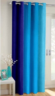 Vaamsi Polyester Blue Plain Curtain Door Curtain 252 Cm In Height, Single Curtain