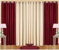 SJK Polyester Multicolour Plain Eyelet Door Curtain 210 Cm In Height, Pack Of 4