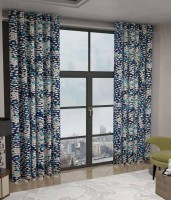 Home Fashion Gallery Polyester Blue Checkered Eyelet Window Curtain 152.4 Cm In Height, Pack Of 2