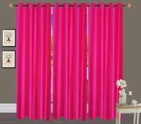 Handloom Hut Polyester Dark Pink Crush Door Curtain 213 Cm In Height, Pack Of 3