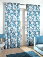 Skipper Polyester Blue Floral Eyelet Door Curtain 214 Cm In Height, Single Curtain