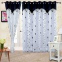 Cortina Embroidery Shear Curtain With Linning Window Curtain - Pack Of 2