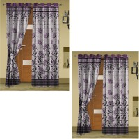 Story @ Home Jacquard Burgandy Abstract Eyelet Door Curtain 215 Cm In Height, Pack Of 4