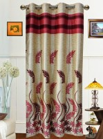 Dekor World Polyester Maroon Floral Tab Top Door Curtain 215 Cm In Height, Single Curtain