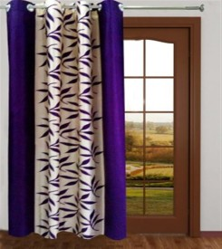 white wave Polyester Multicolor Printed Eyelet Long Door Curtain