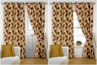 Story @ Home Polyester Beige Paisley Eyelet Window & Door Curtain 215 Cm In Height, Pack Of 4