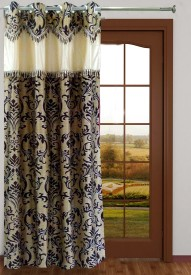 Homefab India Polyester Brown Solid Eyelet Door Curtain