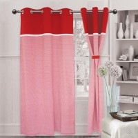 Elan Cotton Red Printed Eyelet Window & Door Curtain 210 Cm In Height, Single Curtain