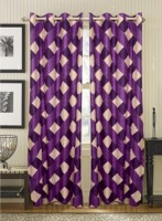 White Wave Polyester Check Purple Long Door Curtain 274.32 Cm In Height, Pack Of 2