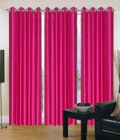 Decor Vatika Polycotton Pink Window Curtain 152 Cm In Height, Pack Of 3