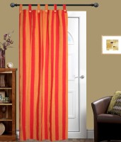 New Ladies Zone Cotton Red Striped Tab Top Door Curtain 210 Cm In Height, Single Curtain