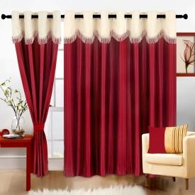 Cortina Polyester Maroon Motif Eyelet Long Door Curtain