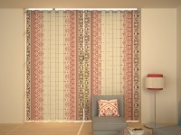 House This Cotton Red Printed Eyelet Long Door Curtain 274 Cm In Height, Single Curtain