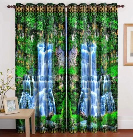 S'Shades of Elegance Polyester Multicolor Printed Eyelet Window Curtain
