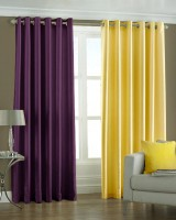 Pindia 7ft Faux Silk Plain Door Curtain (Pack Of 2)