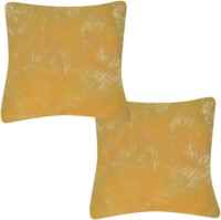 Paisa Worth Solid Cushions Cover (Pack Of 2, Yellow)