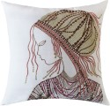 13 Odds 13 Odds Classic African Woman Embellished Face Embroidery, Off-White/Copper/Gold Cushion Cushions Cover - Pack Of 1