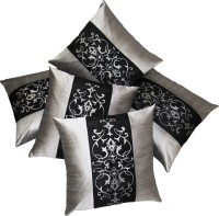 Zikrak Exim Embroidered Cushions Cover (Pack Of 5, 40 Cm*40 Cm, Black, Silver)