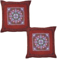 Lal Haveli Flower Design Work Cotton 16x16 Inches Embroidered Cushions Cover (Pack Of 2, 41 Cm*41 Cm, Multicolor)