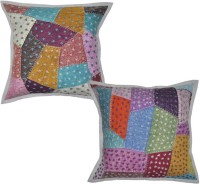 Lal Haveli Beautiful Patchwork Cotton Sofa Cushion Cover 16x16 Inches Abstract Cushions Cover (Pack Of 2, 41 Cm*41 Cm, Multicolor)