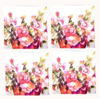 FabnFab Printed Cushions Cover Pack Of 4, 40 Cm*40 Cm, Pink, White