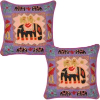 Lal Haveli Embroidered Cushions Cover (Pack Of 2, 43 Cm*43 Cm, Multicolor)