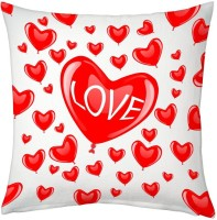 Indigocart Allover Red Hearts Print Decorative Cushion White