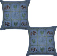 Lal Haveli Embroidered Cushions Cover (Pack Of 2, 41 Cm*41 Cm, Blue)